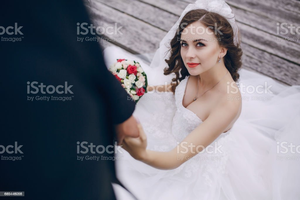 Bride with flowers foto de stock royalty-free
