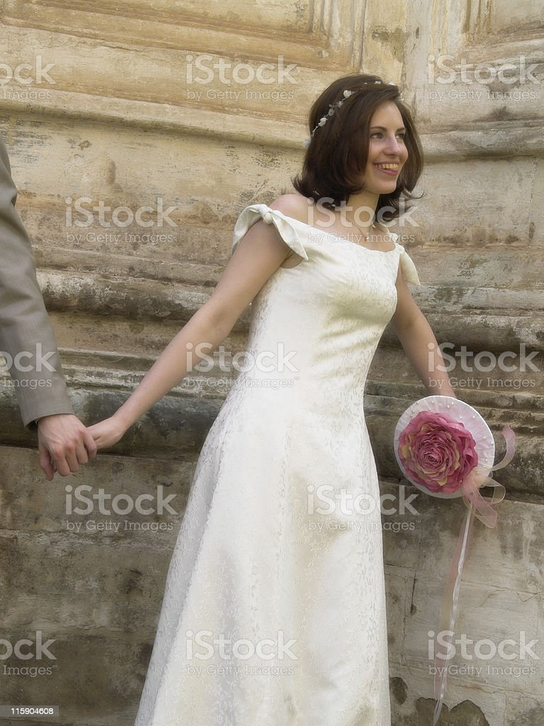 Bride with hand stock photo