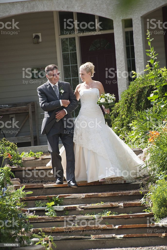 Bride with her Father stock photo