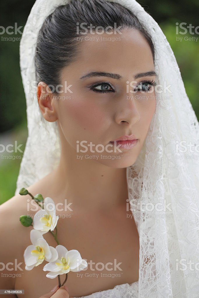 Bride with Orchid royalty-free stock photo