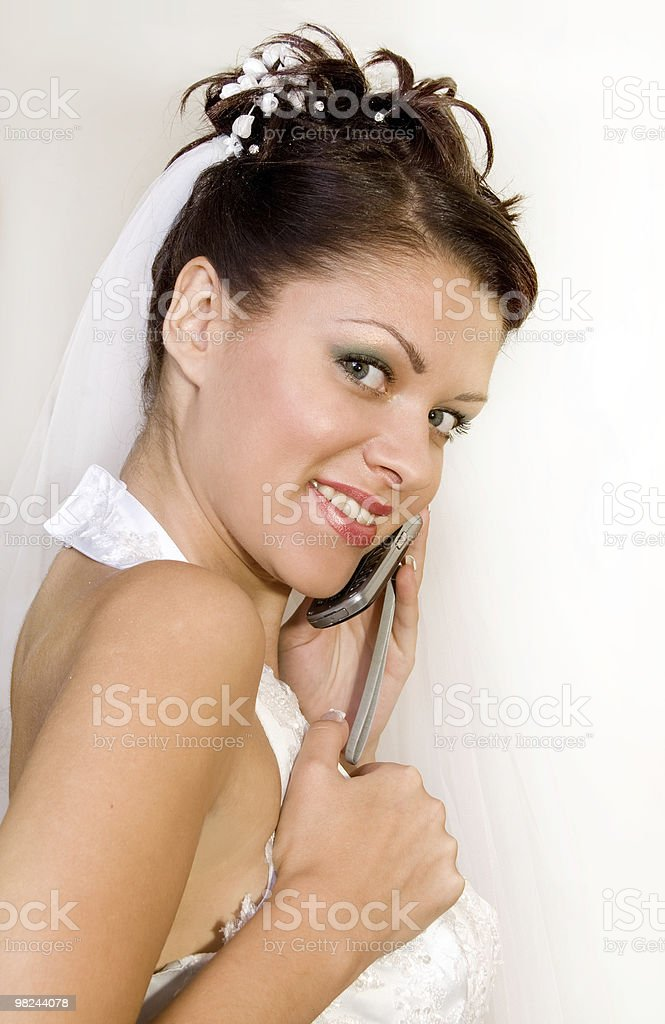 bride with telephone royalty-free stock photo