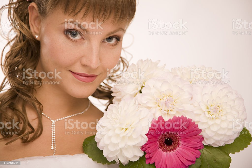 Bride with the flowers close up royalty-free stock photo