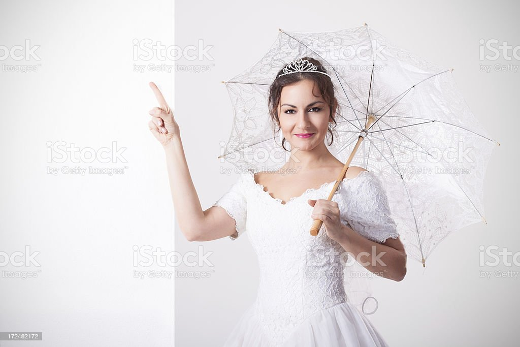 Bride with umbrella royalty-free stock photo