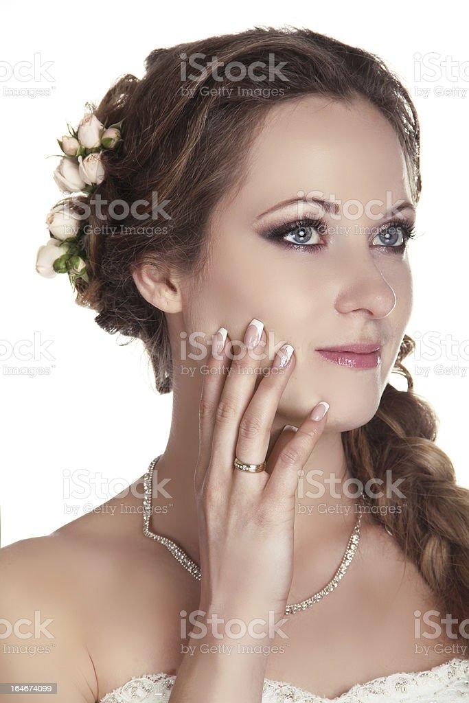 Bride woman portrait studio shot photo stock photo