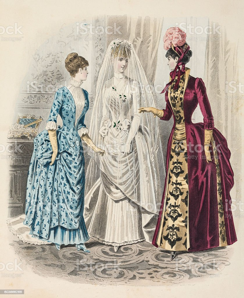 Bridedal fashion 1885 with  veil, queue and train stock photo