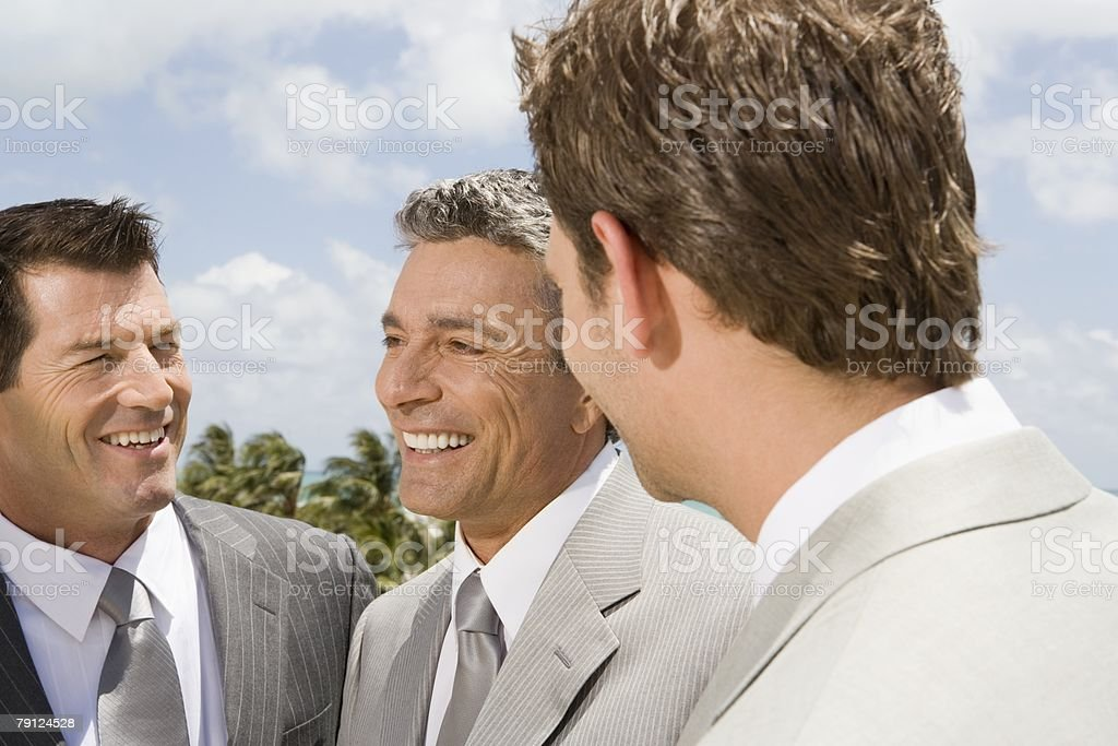 Bridegroom with bestman and usher 免版稅 stock photo