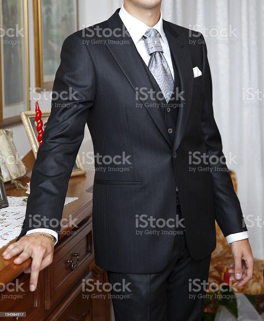 Bridegroom with black dress stock photo