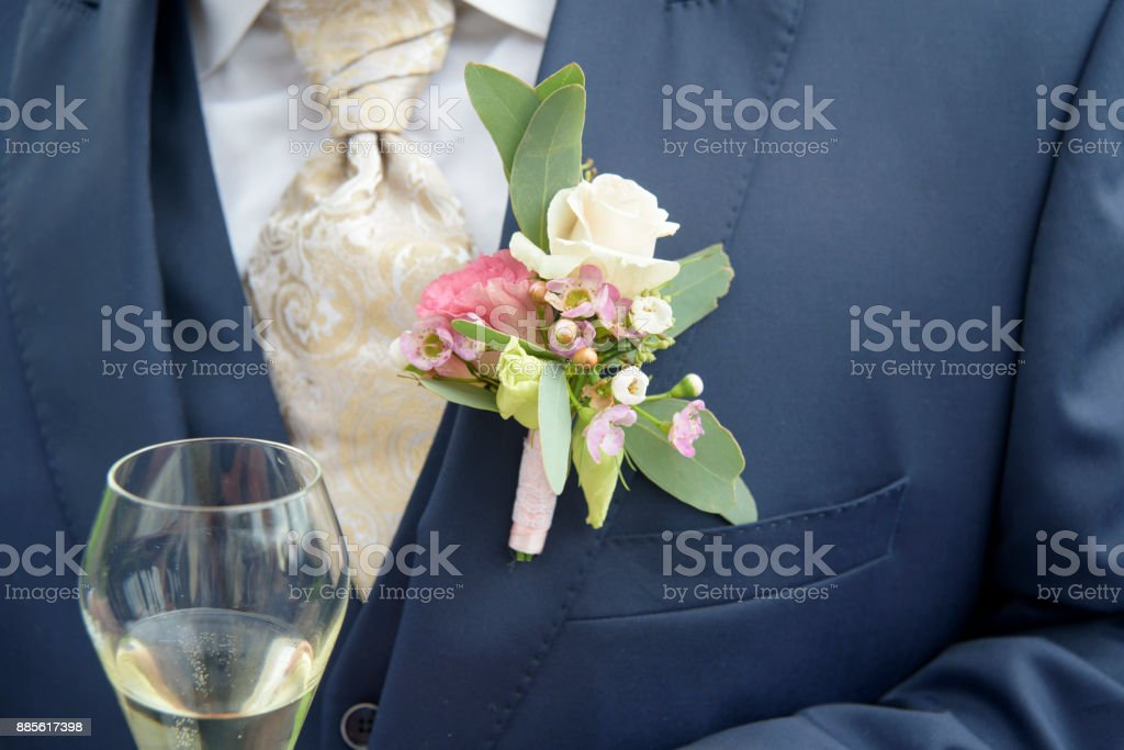 Bridegroom's floral decoration stock photo