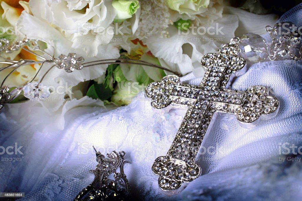 Bride's Crystal casamento do Terço Close-Up foto royalty-free