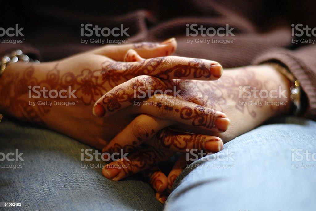 Bride's folding hands II royalty-free stock photo