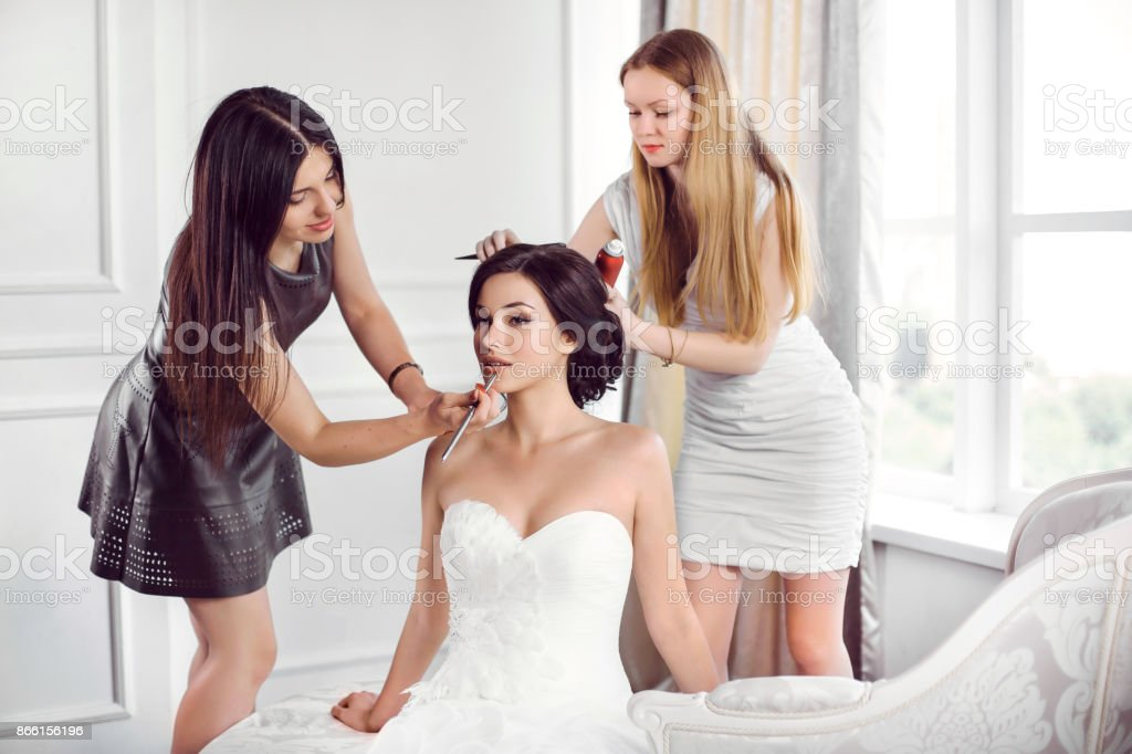 Bride's make-up hairstyle preparation stock photo