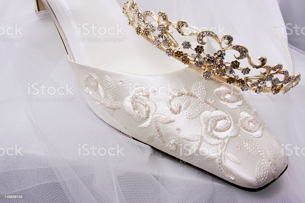 Bride's Shoe & Tiara royalty-free stock photo