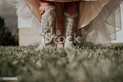 Decorative cowboy boots on a bride during wedding day