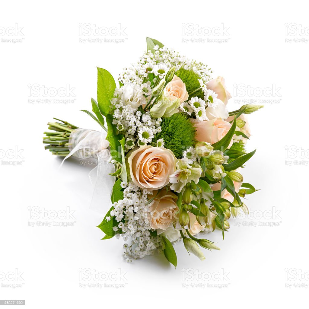 bride's wedding bouquet isolated on white stock photo