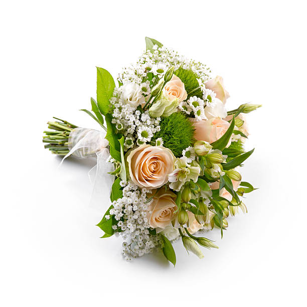 bride's wedding bouquet isolated on white - 花球 個照片及圖片檔