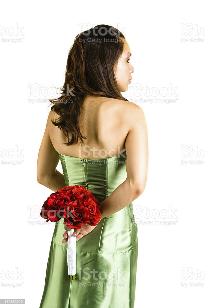 bridesmaid from the back royalty-free stock photo