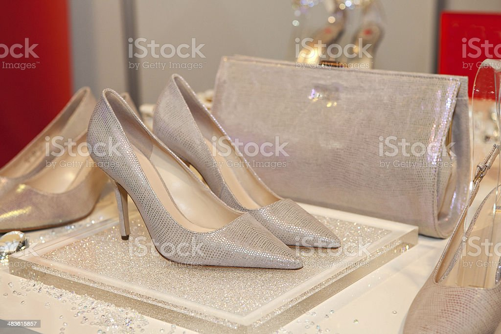 Bridesmaid shoes and purse stock photo