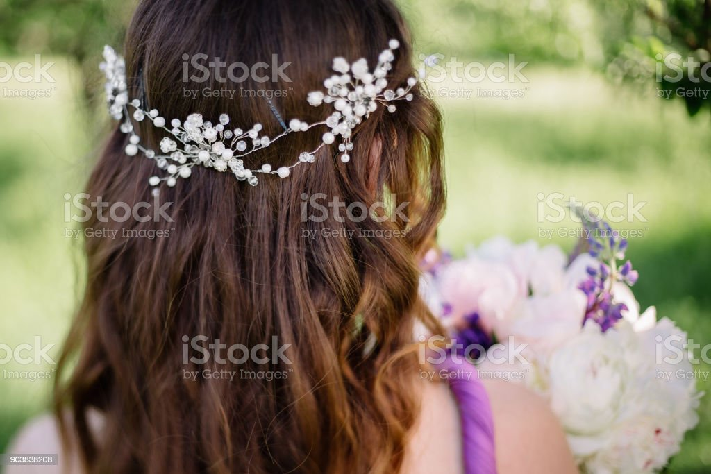 Bridesmaid With Colorful Wedding Bouquet Peonies And Other Flowers