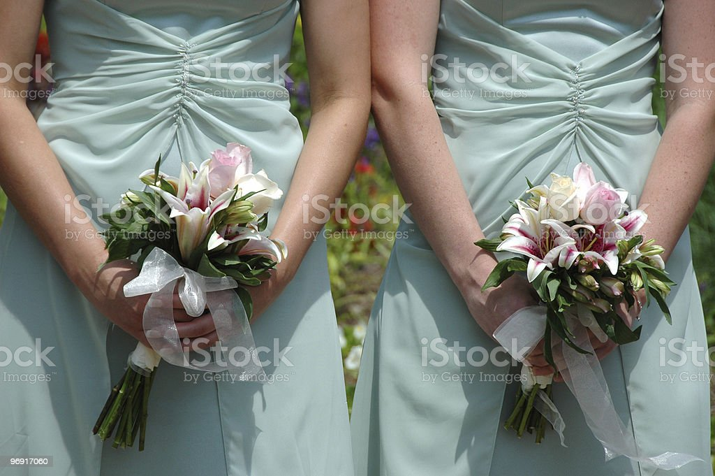 Bridesmaids holding bouquets royalty-free stock photo