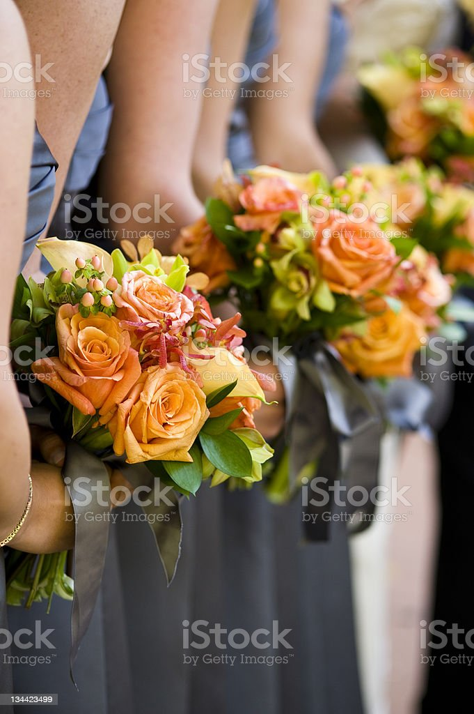 Bridesmaids Holding Flower Bouquet Detail royalty-free stock photo