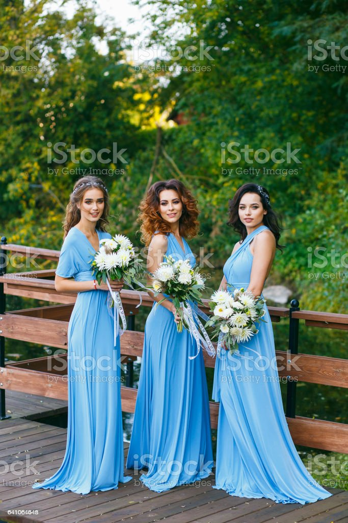 Bridesmaids in park – Foto