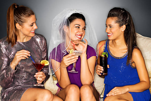Bride-to Be With Her Girlfriends Enjoying Bachelorette Party stock photo