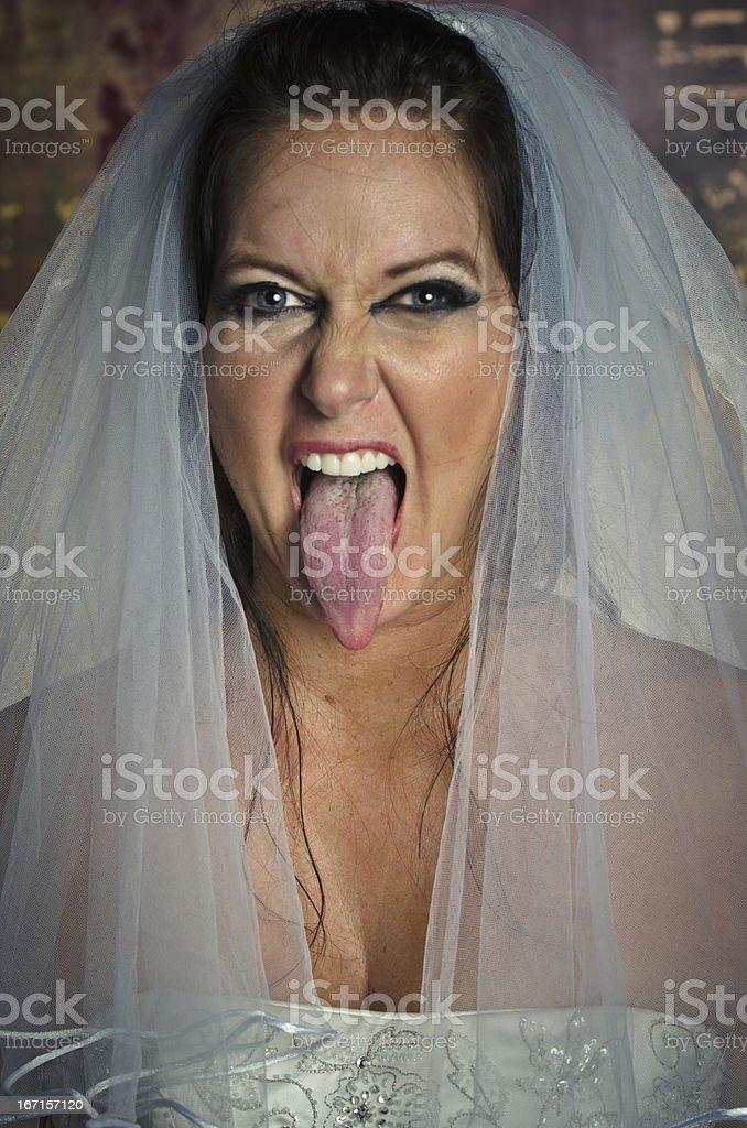 Bridezilla Sticking Her Tounge Out stock photo