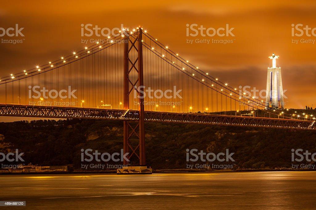 bridge 25 de Abril at night, Lisboa stock photo