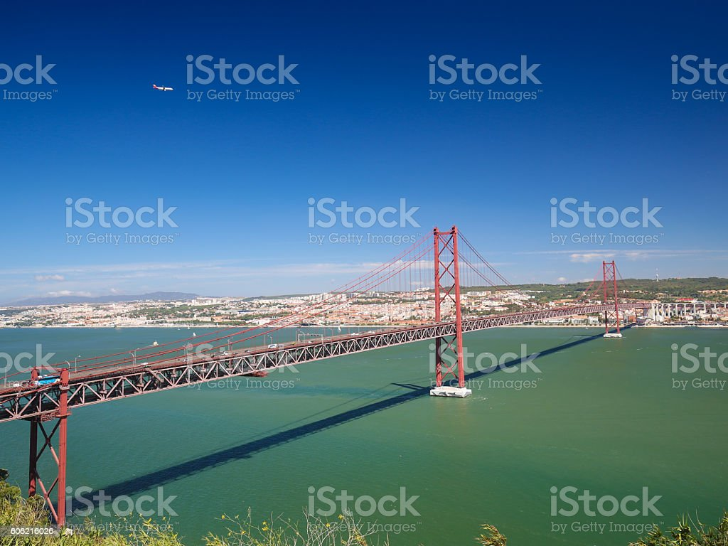 Ponte 25 de Abril in Lisbon, Portugal stock photo