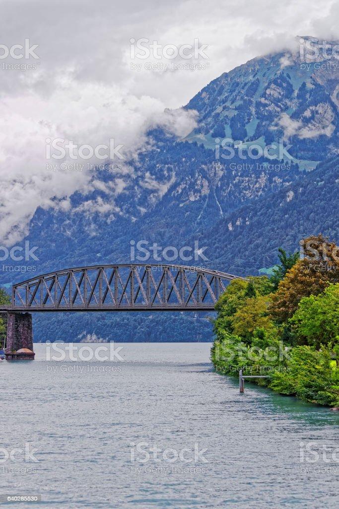Bridge above Lake Brienz and Brienzer Rothorn mountain Bern Switzerland stock photo
