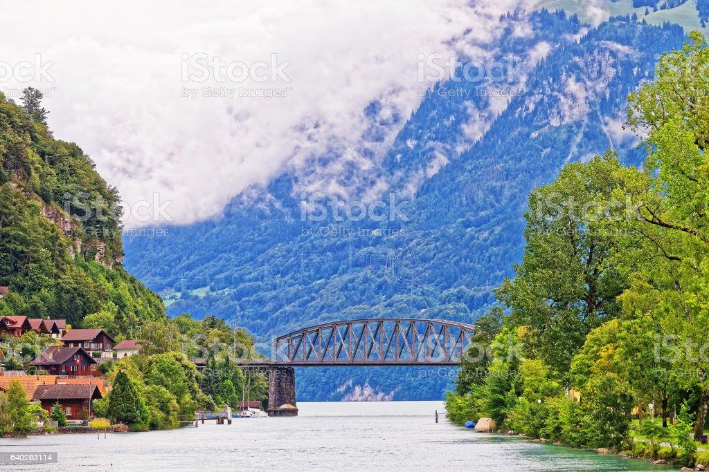 Bridge above Lake Brienz and Brienzer Rothorn mountain Bern Swiss stock photo