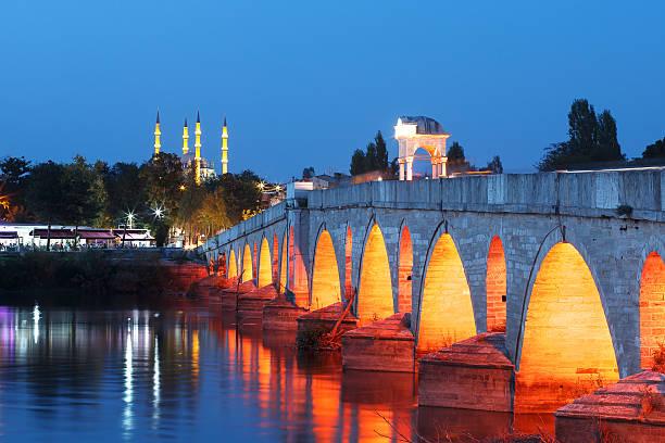bridge above meric river and selimiye mosque - selimiye moschee stock-fotos und bilder