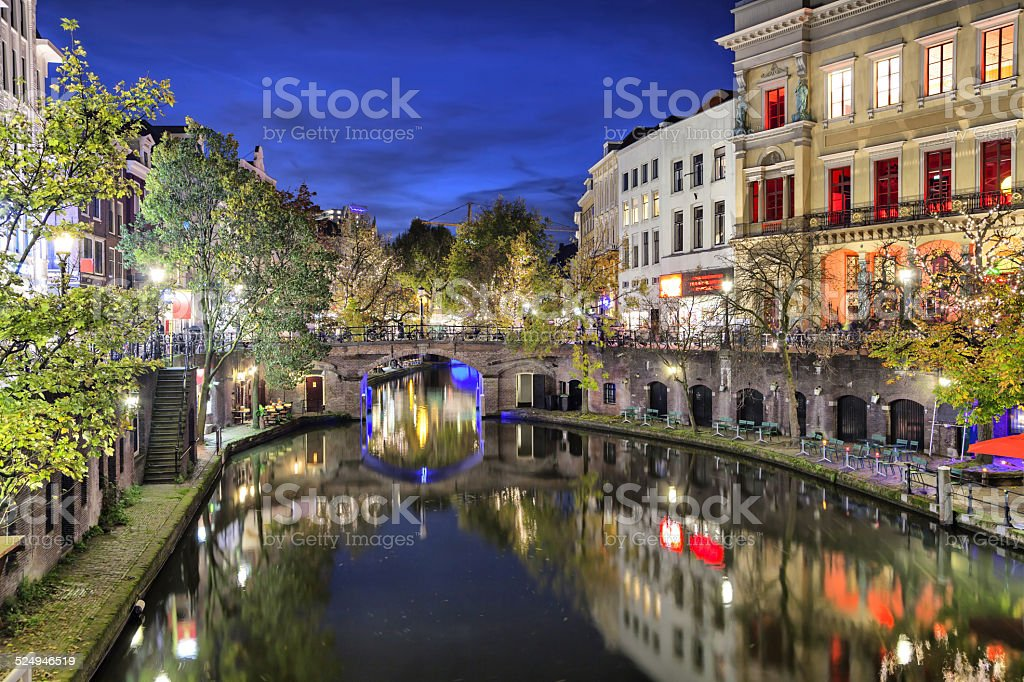 Bridge across canal in the historic center of Utrecht stock photo