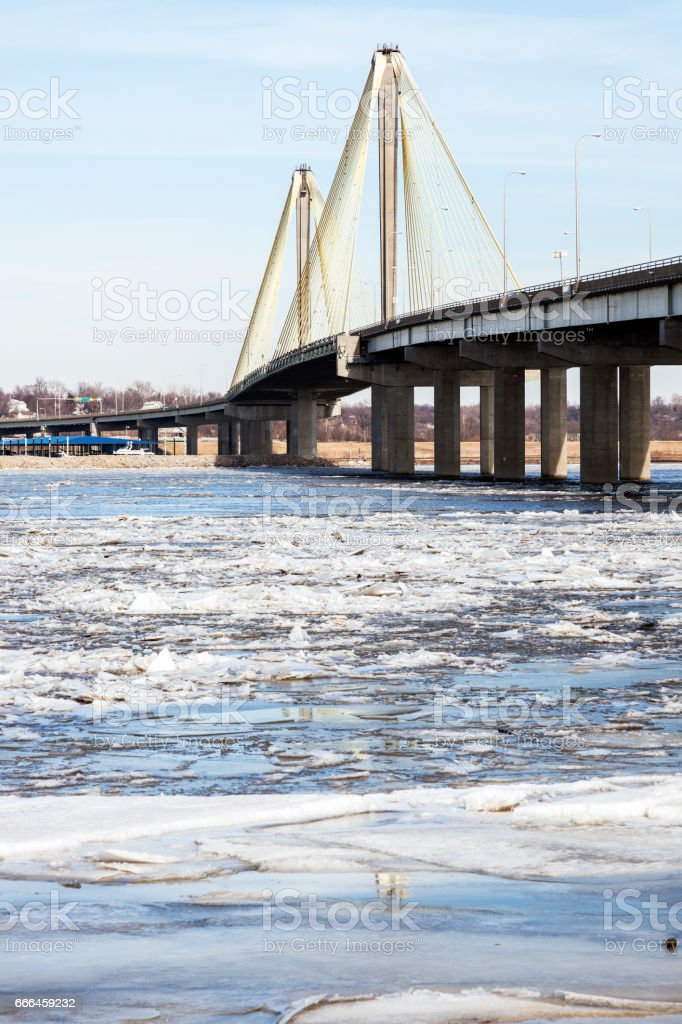 Bridge across Mississippi River in Alton stock photo