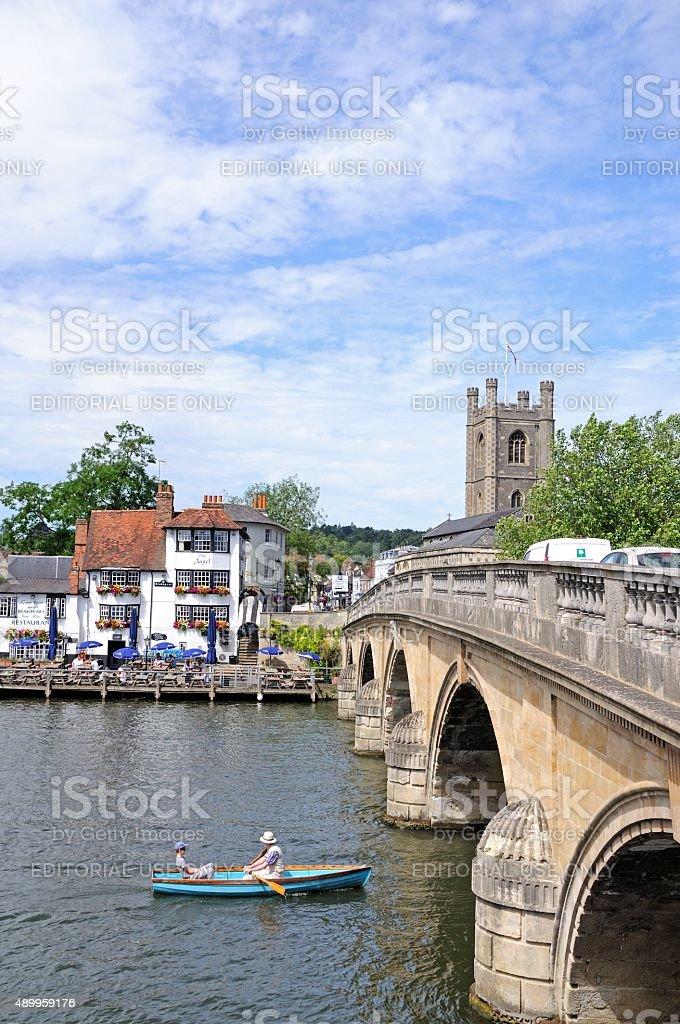 Bridge across the river, Henley-on-Thames. stock photo