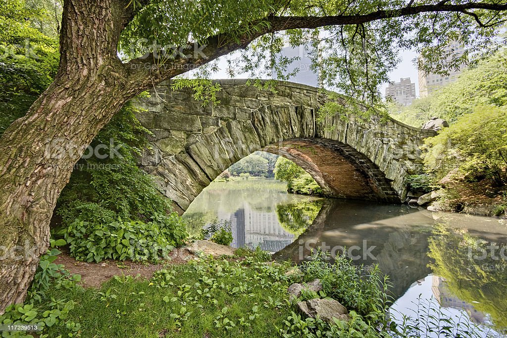 A bridge across water in Central Park stock photo