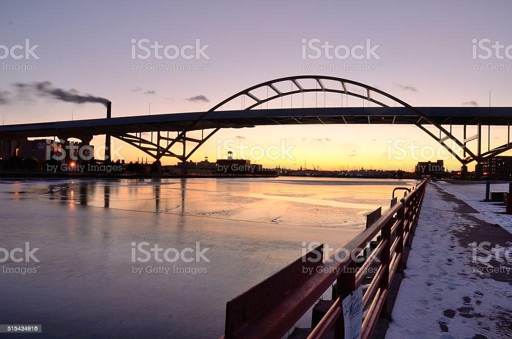 Bridge After Sunset stock photo