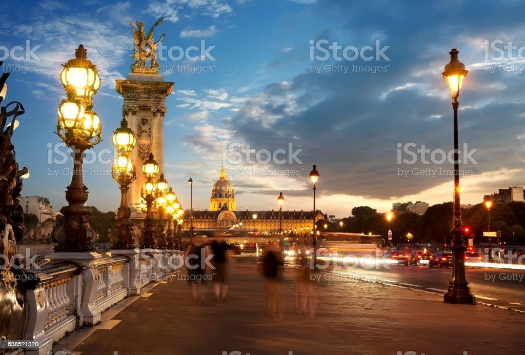 Bridge Alexandre III at sunset stock photo