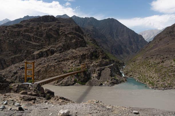 Bridge Along the Karakoram Highway in Northern Pakistan, taken in August 2019 stock photo
