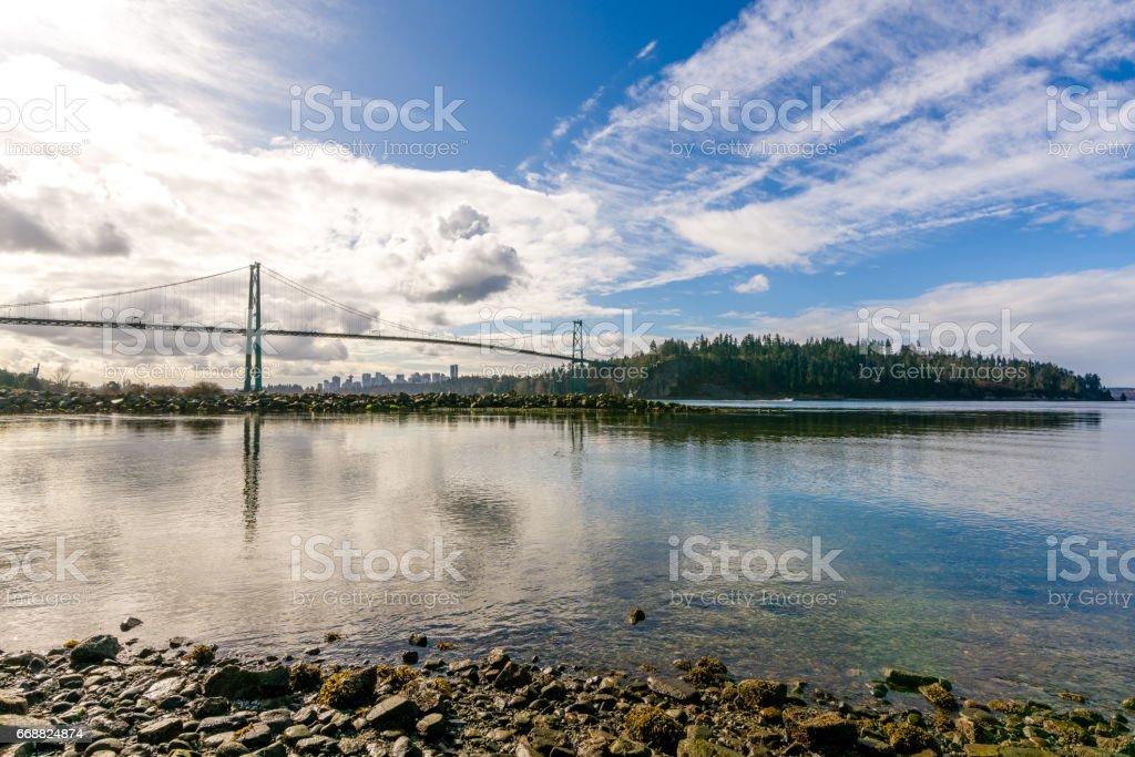 A bridge and an island stock photo