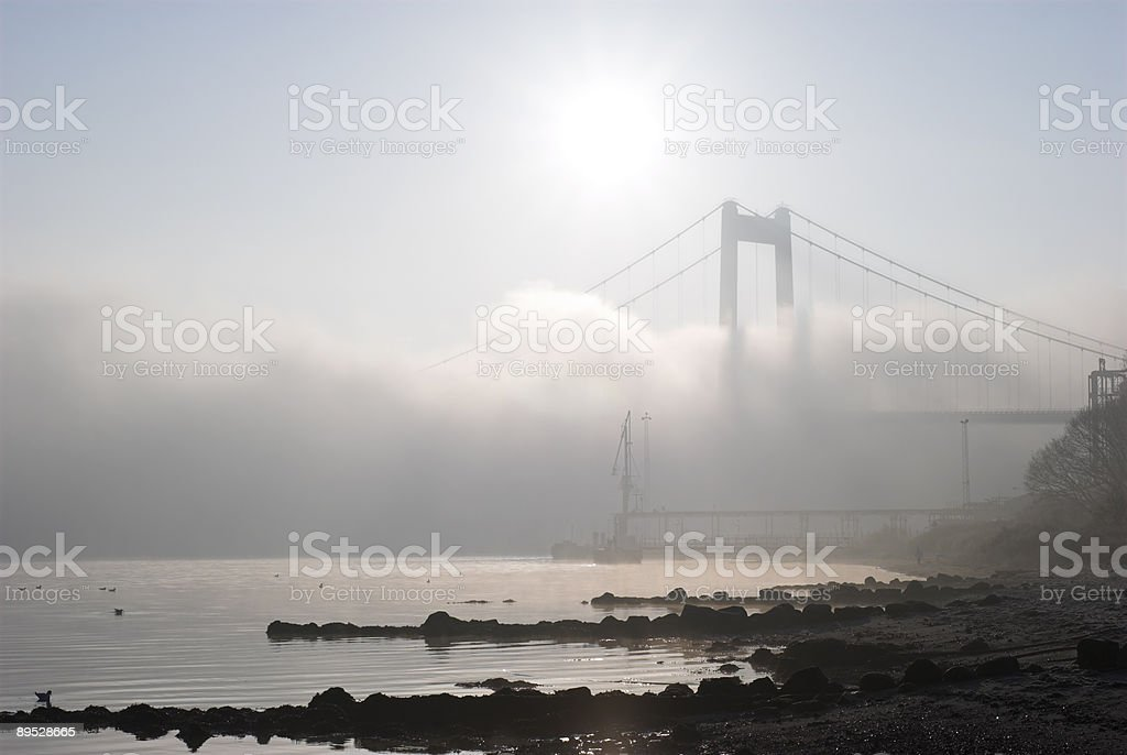 Bridge and beach royalty-free stock photo