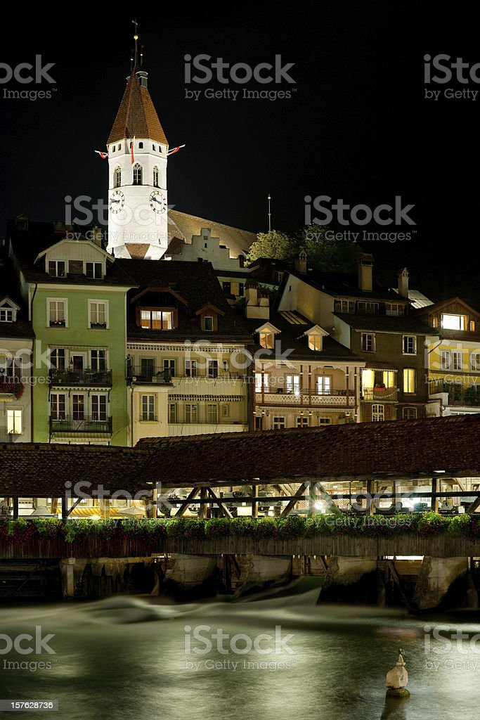 Bridge and buildings in Thun at night royalty-free stock photo