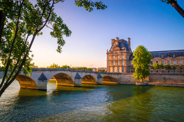 Bridge and buildings near the Seine river in Paris, France Bridge and buildings near the Seine river in Paris, France musee du louvre stock pictures, royalty-free photos & images