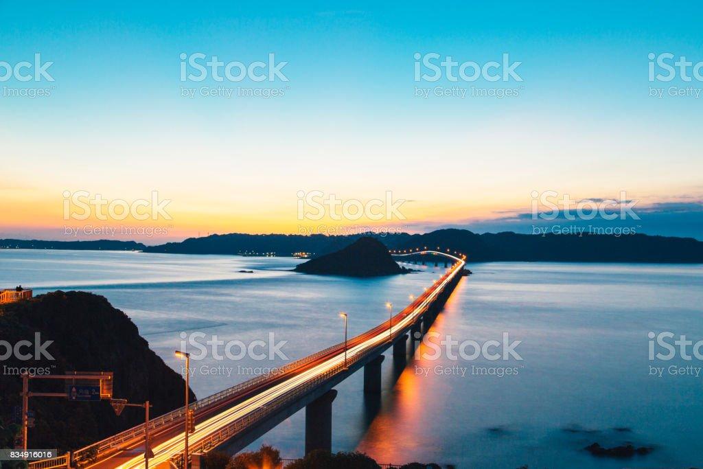 A bridge and dusk stock photo