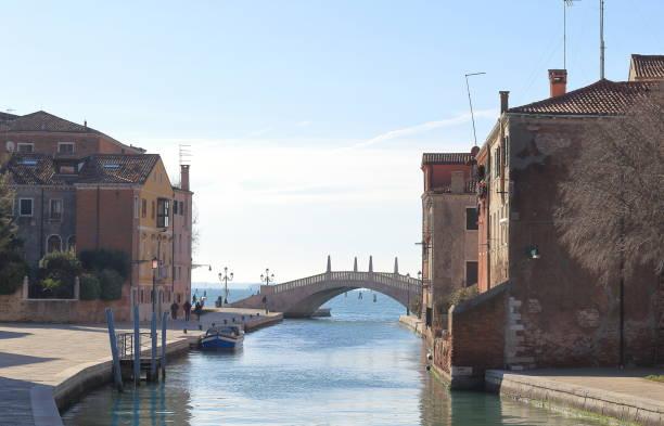 bridge and Fondamenta Arsenale in Castello, Venice Venice, Italy. View of the bridge and Fondamenta Arsenale in Castello porta magna stock pictures, royalty-free photos & images