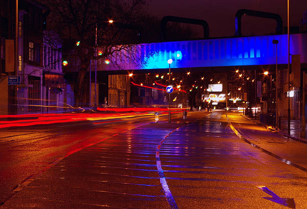 Bridge and lights by night stock photo