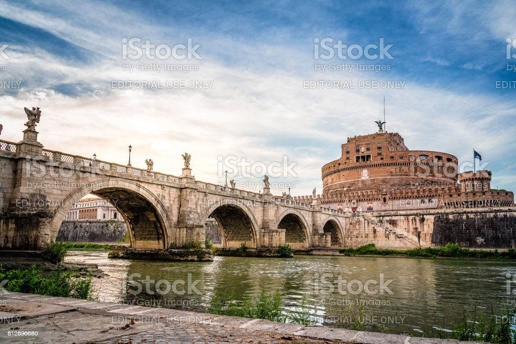 Bridge and Mausoleum Castel Sant Angelo at sunset. stock photo