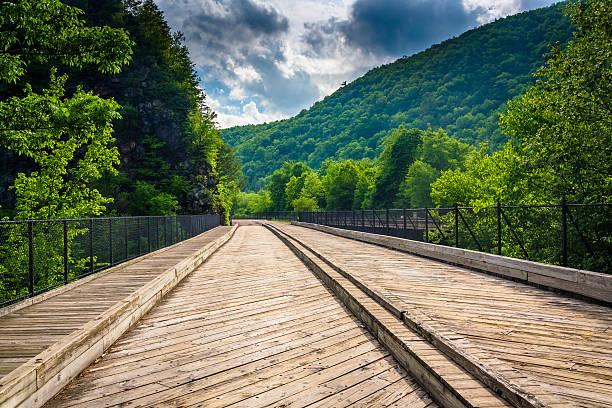 Bridge and mountains in Lehigh Gorge State Park, Pennsylvania. stock photo