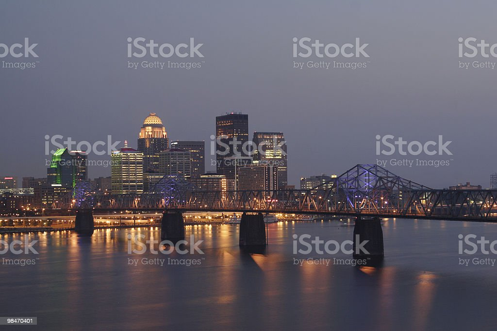 Bridge and night view of the city of Louisville stock photo