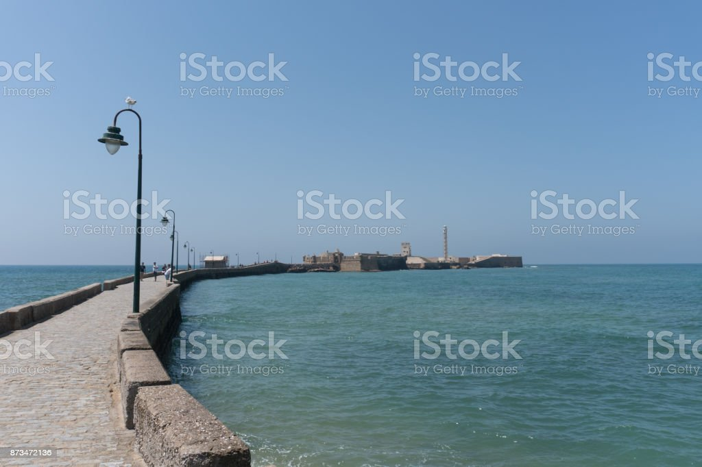 Bridge And Old Casle Of Cadiz Andalucia, Spain stock photo